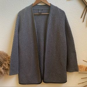 Ann Taylor open front grey knitted cardigan size L